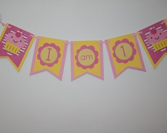 Yellow & Pink 1st Birthday High Chair banner