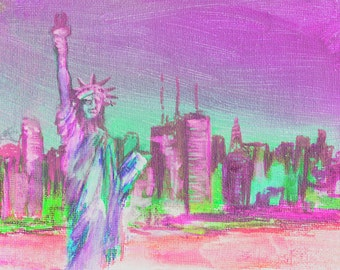 New York Print Pink day Dawning in NYC New York Skyline art print from original painting