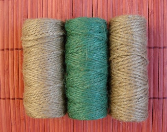 3 Rolls of Jute Twine 118ft each. Natural Jute Twine, Green Jute Twine, Bakers Twine