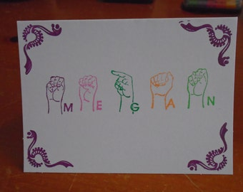 Sign Language Personalized Notecard