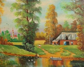 Vintage Russian landscape forest river oil painting