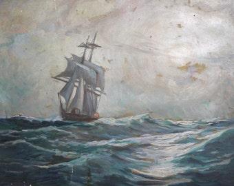Antique seascape oil painting sailing ship