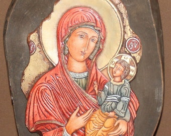 Virgin Mary Hand made Relief Wood Orthodox Icon