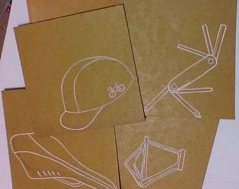cycling gift cards, blank on the inside, set of four, hand drawn