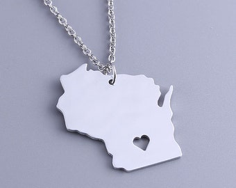 I heart Wisconsin Necklace - Wisconsin Pendant - State Charm - Map necklace - Map Jewelry