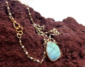 Sliced Labradorite electroplated with gold hanging on a tiny pearl beads wire wrapped necklace,Matana Jewelry ,Gift idea