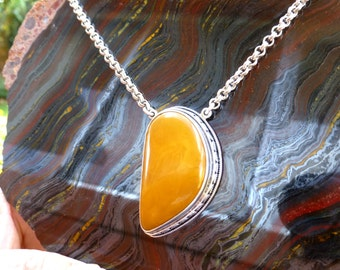 NATURAL BALTIC AMBER Pendant with Chain.