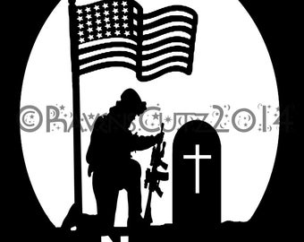 Memorial day, soldier remembrance template paper cutting pattern
