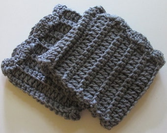 Crochet Boot Cuffs With Scallops in Gray Grey Ready to Ship