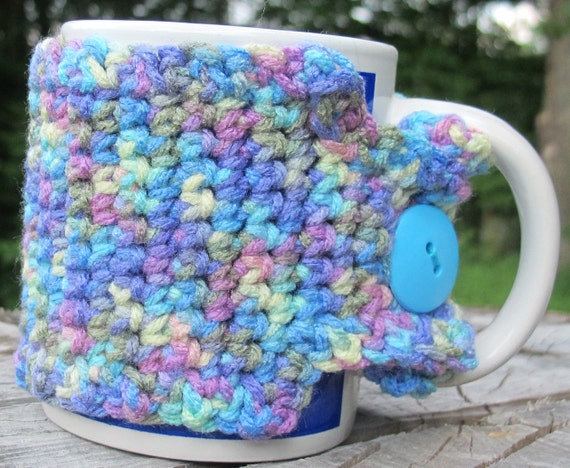 Multi Colored Crochet Mug Cozy with Button Ready by ...