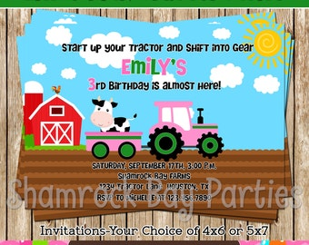 Little Pink and Green Tractor Invitation-DIY- Print Your Own-Printable-Green-Pink-Tractor