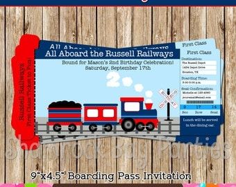 Choo Choo Train Ticket-Boarding Pass Invitation-Red and Navy-DIY-Print Your Own