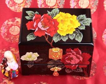 Peony Wooden jewelry box Ring box Wooden box Wedding gifts Jewelry boxes Wooden boxes Ring