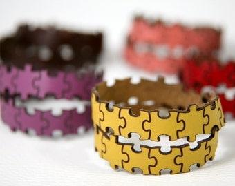 Puzzle pieces double wrap leather bracelet