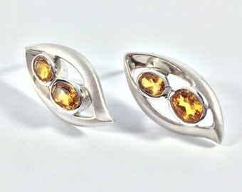Citrine Post Earrings // Sterling Silver // Matte Rhodium Finish //Modern Design