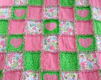 Raggedy Heart Baby Quilt