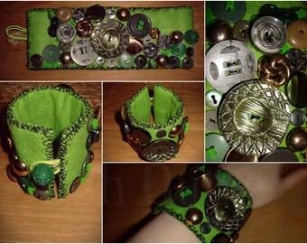 Green Felt Handmade Cuff Bracelet made using Felt, Vintage & Modern Buttons and Beads OOAK