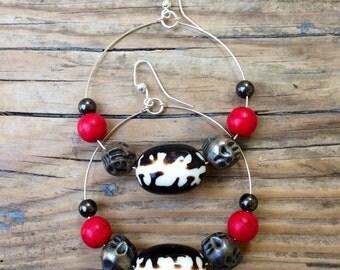 Boho, Tribal, Hippie, Beaded Hoop Earrings.
