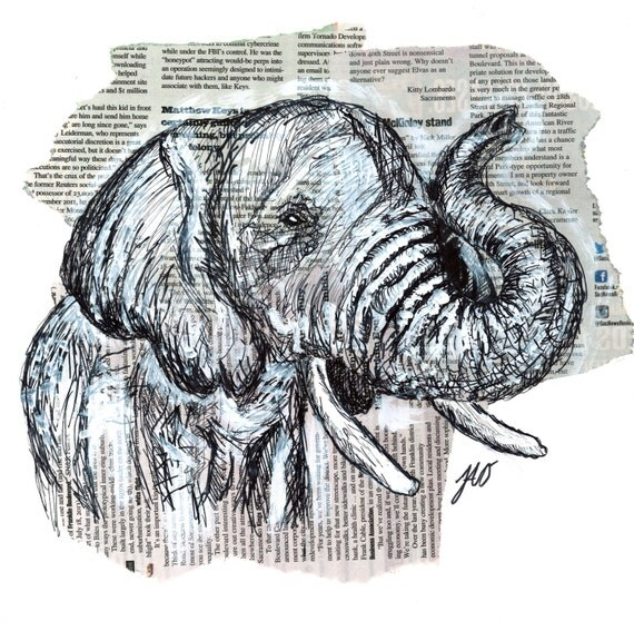 Animals Mixed With Other Animals Drawing Elephant Ink Drawing Mixed