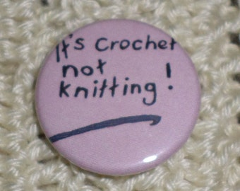 It's Crochet button badge