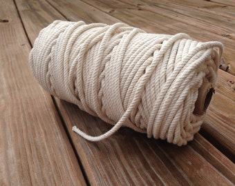 100% Cotton Rope Cord - White/ Natural - 5 YARDs