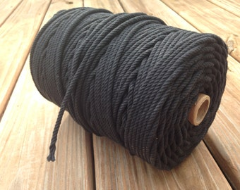 100% Cotton Rope Cord - Black - 5 YARDS