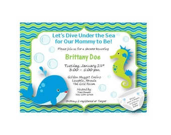 Customizable Baby Shower Invitation {Ocean Theme}