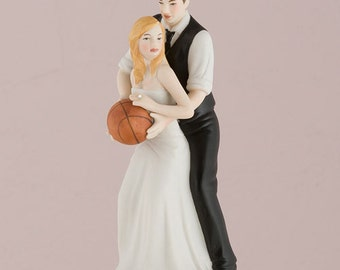 Hand Painted Porcelain Basketball Couple Wedding Cake Topper