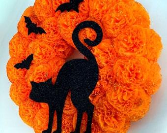 halloween wreath black cat wreath halloween decorations door wreath wall decorations all saintsu0027 eve wall
