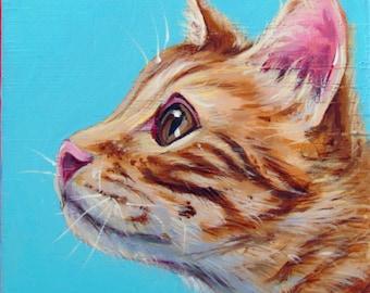 Custom pet portrait acrylic hand painted pet portrait pop art pet painting personalized animal painting, acrylic on a 8x8 wooden canvas