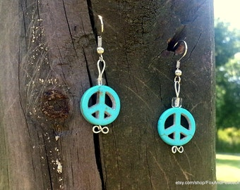 Turquoise Peace Sign Earrings