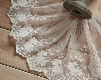 White Floral Lace Cotton Trim Embroidery Tulle Lace Trim 5.9 Inches Wide 2 Yards K018