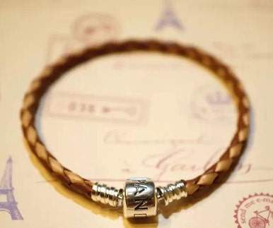Pandora leather bracelet single loop light brown white