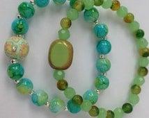 Spring Time  Two Jade And Agate Bracelets. Semi Precious. Stacking Bracelets. Springtime Bracelets. Beaded Bracelet Beadwork Bracelet