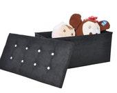 Black Suede Ottoman Diamante Large Storage box Blanket Box Toy box Seat storage box