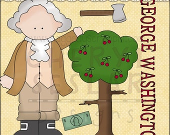 George Washington Digital Clipart - Clip art for scrapbooking, party invitations - Instant Download Clipart Commercial Use
