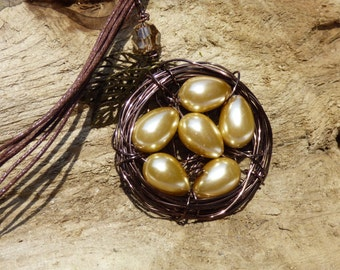 Wire Wrapped Bird Nest Necklace with Pearl Eggs