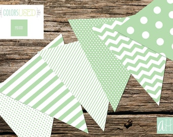 Printable Assorted Pennant Flag Banner: Mojito Green (Instant Digital Download)