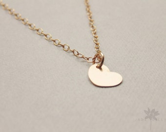 Small 14k gold filled heart charm pendant gold chain necklace
