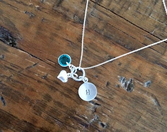 All My Love. Initial necklace with birthstone and sterling silver puffed heart.