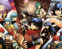 """Fire Emblem 11x17"""" poster with protagonists from 7 games"""