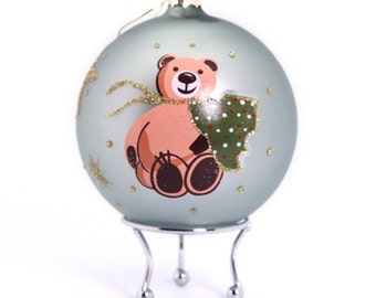 Blue Handpainted Glass Christmas Bear Bauble