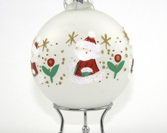 Frosted Glass Handpainted Christmas Santa Bauble