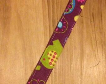 Purple flower & elephant binky clip