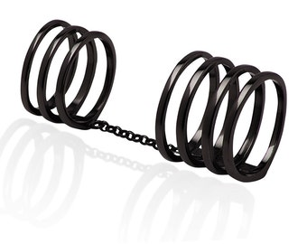 Sterling Silver 18K Black Gold Vermeil Double Knuckle Ring