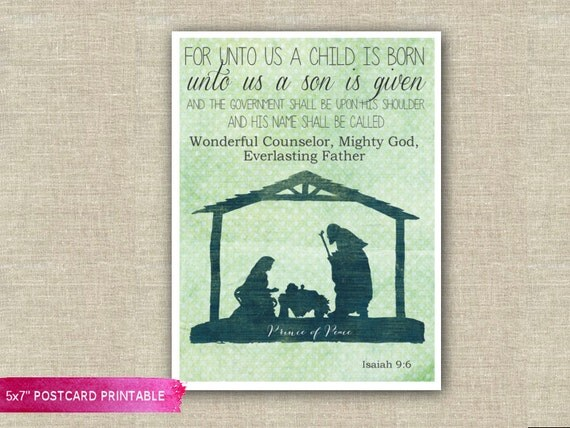 isaiah 9 6 for unto us a child is born 5x7 greeting card