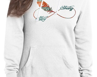"white ""Stay Strong"" Tribal Infinity Feather Fly Away Hoodie"