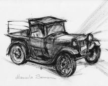 Classic Car Drawing Illustration Antique Truck Car Print Retro Illustration Old Pickup Truck Man Cave Wall  Decor Gift For Dady Auto Poster