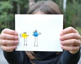 Love Birds Card, Handmade Greeting Card, Anniversary Cards, Love You Gift Card, Hand print Art