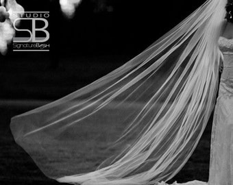 Cut Edge Cathedral Veil | Single Tier Wedding Veil | Cathedral Length Wedding Veil